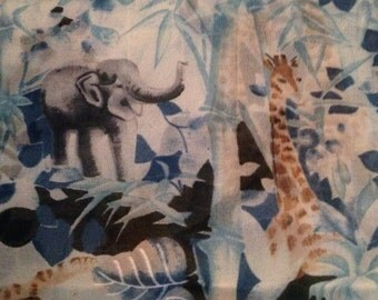 Sheer Polyester Fabric - Jungle Animals - Blue - Vintage Fabric