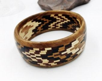 Handmade Wood Geometric Intarsia Bracelet