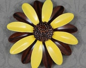 Vintage Bright Yellow and Brown Enamel Flower Brooch