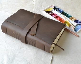 Rustic Brown Leather Journal with Watercolor Paper and Bookmark
