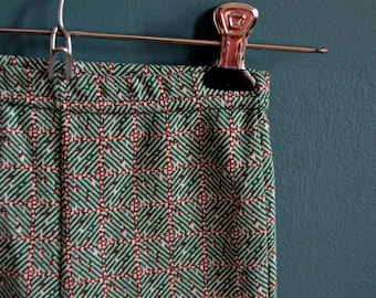 Vintage Child's Red and Green Knit Patterned Pants - Size 2T