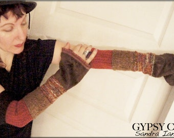 Arm warmers - Gauntlets - Burning Man - Gypsy Boho - Fingerless Sleeves - Patchwork - Clothing Accessory - Tribal Style - One Size