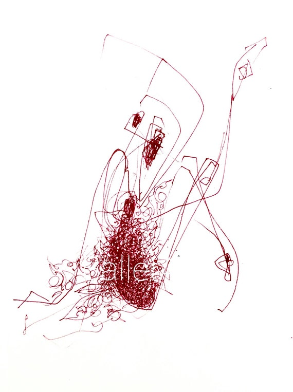 Drawing Red Lines With Green Ink : Items similar to red ballet art print wall ink