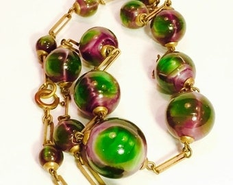Holiday Christmas SALE Beautiful Rare Watermelon Art Glass Art Deco Brass Vintage Antique Necklace Art Deco Jewelry