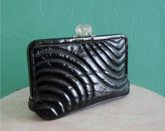 vintage cache patent leather clutch handbag