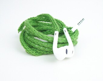 Tangle Free Knit Apple Earpods in Spring Green