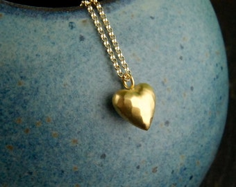 Gold puffed heart pendant and gold filled necklace, puffy heart, vermeil gold, hammered, vermeil style, heart of gold, simple, gold jewelry