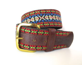 Vintage Boho 70's Hippie Woven and Leather Tex Tan Belt // 34