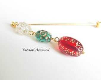 Hijab pin, Gold inlay glass beads, red, green, clear, Dangle Hijab pin, Shawl Pin, Christmas Scarf pin, Hat pin, Stick pin, Holiday gift