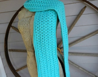 March Madness Sale! The Arrowroot Handmade Crochet Cable Scarf Turquoise hand crocheted  long texture ribbed boho fringe neck wrap scarf