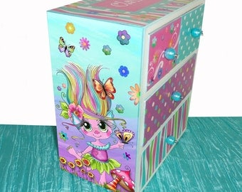 Personalized Jewelry Box Trolls Big Eyes Girl Turquoise, purple, pink & lime green