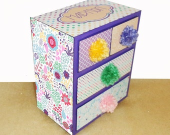 Girls Jewelry Box Inspired by Margherita Missoni Pom Pom Daisy Floral Bedding Personalized