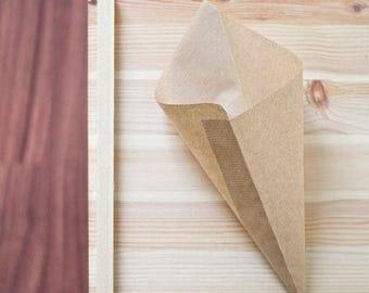 Party paper candy cones, 20 pcs (18-24cm) Kraft wedding favor bag, brown paper popcorn cone, gift cone, peanut bag