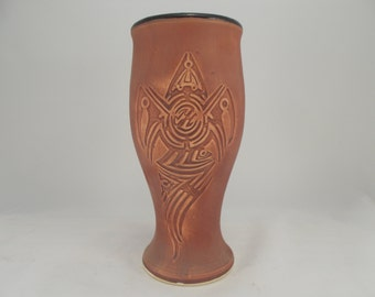 ON SALE Pilsner Cup with Ancient Earth Stain Finish, for Tableware. Barware, Beer Cup with Original Tribal Design Artwork, Holiday Gift Idea