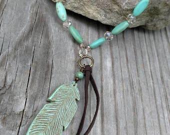 Long boho turquoise feather necklace