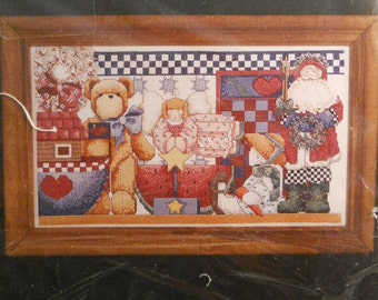NEW I Love Country by Janlynn Counted Cross Stitch Kit 1995 Bear Santa Doll