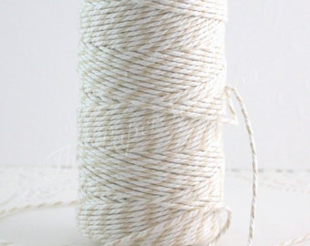 Natural & White Cotton Baker's Twine, 10 yd., Gift Wrapping, Nautical Twine, Party Supplies, Jewelry Supplies, Cord, Party and Gifting