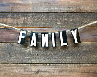 FAMILY Banner - Vintage Unitype Letters - Church Letters Sign - Industrial Home Decor - Housewarming Gift - Hostess Gift