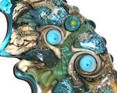RESERVED for Marsha! Flusso del Mare...Handmade Lampwork Glass Bead blue water swirl sparkle aqua fin fan ocean Beatlebaby Glassworks