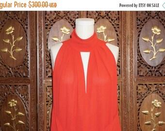 ON SALE 1980s FRANK Usher Red Crepe Deep V Neckline Cocktail Dress Sz 10