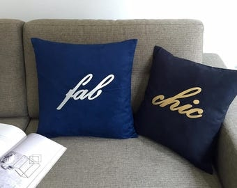 Pick Your Color! Hand Cut Silver Gold Chic Cursive Classy Wordings Navy Black Pillow Cover. Metallic Typo Decorative Cushion Cover.New Home