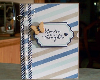 """Handmade Sympathy Card - 4 1/4"""" x 5 1/2"""" - Stampin Up Watercolor Wishes You're In My Thoughts"""