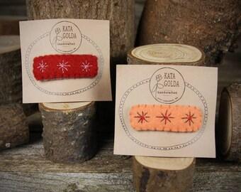 hand-stitched wool felt hair clip: star burst design by Kata Golda