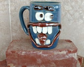 Valentine's Huge Beer Stein. Large Pottery Tankard for Him. Fun Unique Coffee Cups. Blue. Mischievous Jokester Face Mug. Big Coffee Mug