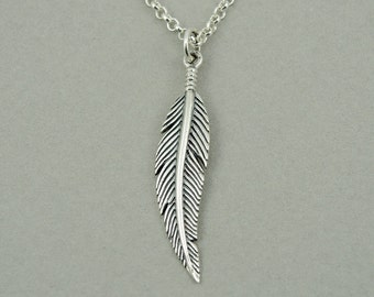Feather Necklace - Sterling Silver Feather Pendant, Feather Jewelry, Teacher Gifts, Charm Necklace, Trendy Necklaces, Birthday Gift