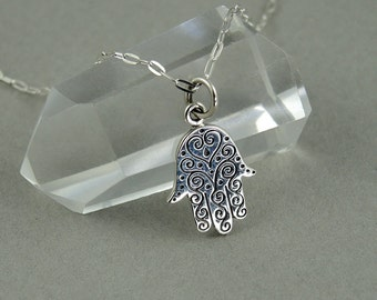 Hamsa Necklace - Sterling Silver Tiny Charm Necklace, Hamsa Hand Jewelry, Girls Jewelry, Girls Necklace, Tiny Charms, Charm Bracelet Charms