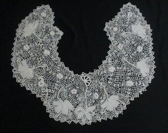 Damaged Antique Vintage Irish Crochet Collar Cutter