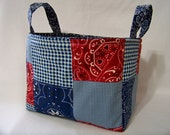 PK Fabric Basket in Bandana Patchwork in Navy - Ready To Ship - Washable - Reversible