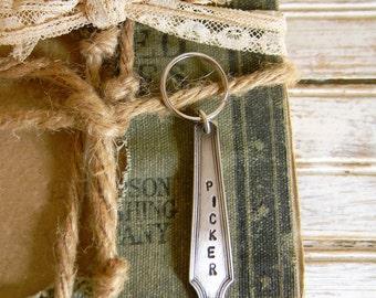 "Spoon Handle Key Chain, ""Picker"" Key Ring, Silver Spoon Handle Keyring, Silverware Keychain, Men's Gift Ideas, Stocking Stuffer, Pickers"