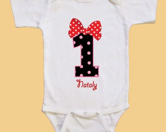 Minnie mouse 1st Birthday girl - Personalized birthday shirt -