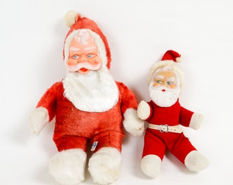 Vintage 1960s Toy / 60s Plush Santa / Your Choice of Both / Kitsch Retro Christmas Decor Set Prop