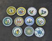 11 Quimper Mini Plates . Doll Dishes . Vintage Plates . Fine China