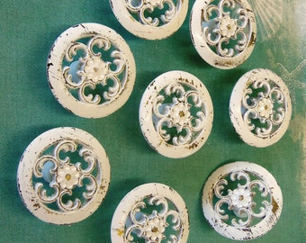 8 Knobs Drawer Pulls Cottage Chic White Distressed 1.5 Inch