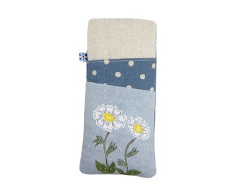 Soft Padded Glasses Case, Mothers Day Gift, Sunglasses Case, Spectacle Holder, Gardener Gift, Moon Daisy