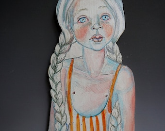 Tangerine wall doll by artist Victoria Rose Martin