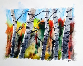 ORIGINAL painting watercolor painting original WATERCOLOR Birch Tree Art/jim lagasse/watercolor original/BIRCH trees/Silver Birches
