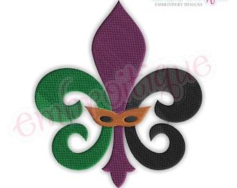 Fleur De Lis Mardi Gras Mask- FILL STITCH  New Orleans -Instant Download Machine Embroidery Design