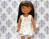 Made to fit 14.5 dolls such as Wellie Wisher, Babydoll Nightgown Ivory with Rose Hearts, 05-2061