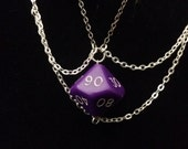 Gaming Dice Necklace - Purple Dual Tone