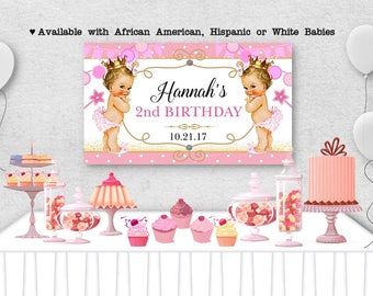 """Vinyl Welcome Banner, 36""""x20"""", 48""""x30"""", Little Princess Babies, Royal, Pink Colors, Baby Shower, Birthday Party, Table Backdrop"""