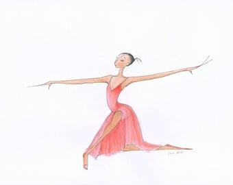 Dance Ballet Art-Lydia-Ltd Ed Giclee Print of Original Illustration-Dancer Ballerina in Red Dress-Lyrical Jazz Modern Dance-WallArt-Gift