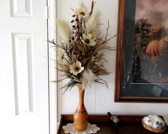 Tall Floral Arrangement / Table Top Floral Arrangement / Cream Tan Brown Floral Arrangement / Floral Arrangement For Study Or Office