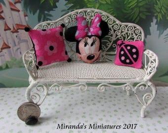 Dollhouse Miniature Minnie Mouse Pink Pillow Set ooak