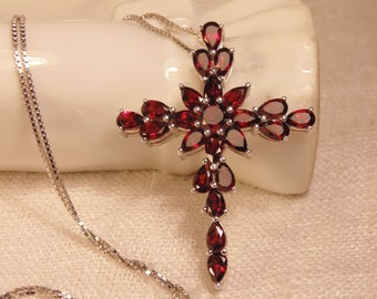 Vintage Sterling Garnet Cross