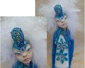 Snowflake Goddess OOAK Fairy Fairies Art Dolls NEW Polymer Clay Ice Winter Blue