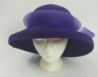 Vintage 1980s Purple Felt Kentucky Derby Horse Racing Tea Party  Wide Brimmed Church Hat